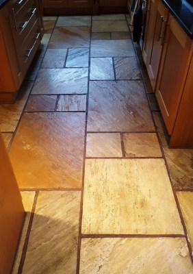 Sandstone Kitchen Floor After Sealing Bramhall