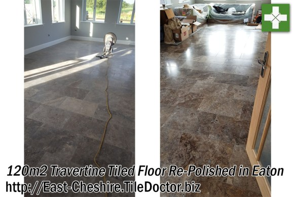 Travertine Tiled Floor Before and After Polishing in Eaton