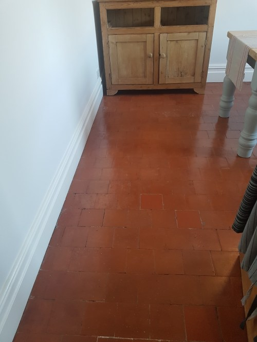 Quarry Tiled Kitchen Floor After Cleaning Goostrey