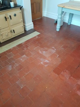 Quarry Tiled Kitchen Floor Before Cleaning Goostrey