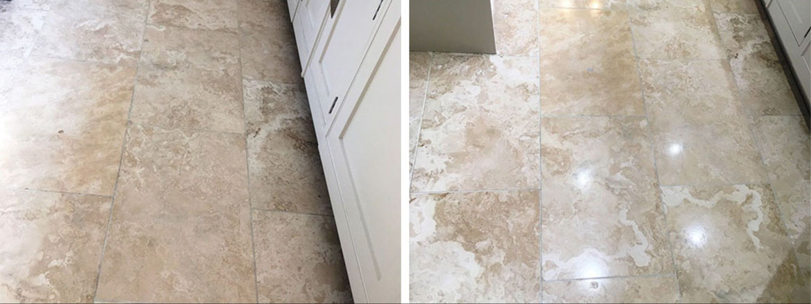 Travertine Tiled Kitchen Floor Before and After Polishing Wilmslow