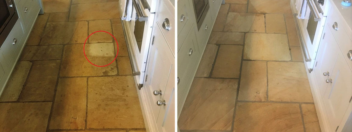 Large Sandstone Floor Deep Cleaned and Sealed in Disley
