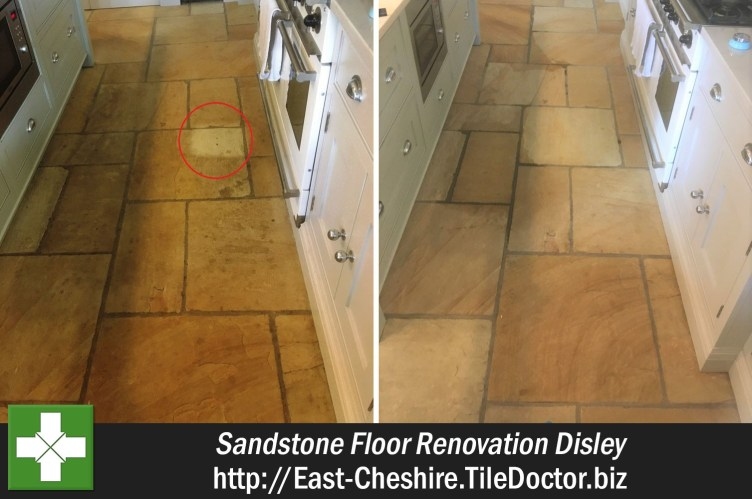 Sandstone Tiled Floor Before and After Renovation Disley