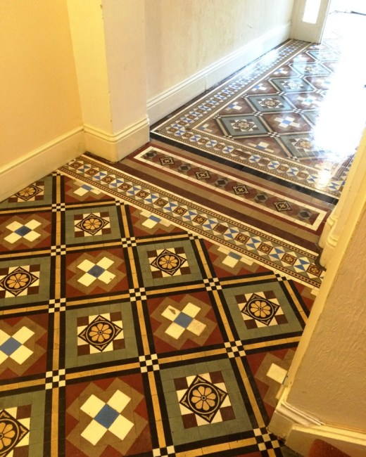 Victorian Tiles After Cleaning Eastbourne Flats Entrance Hall