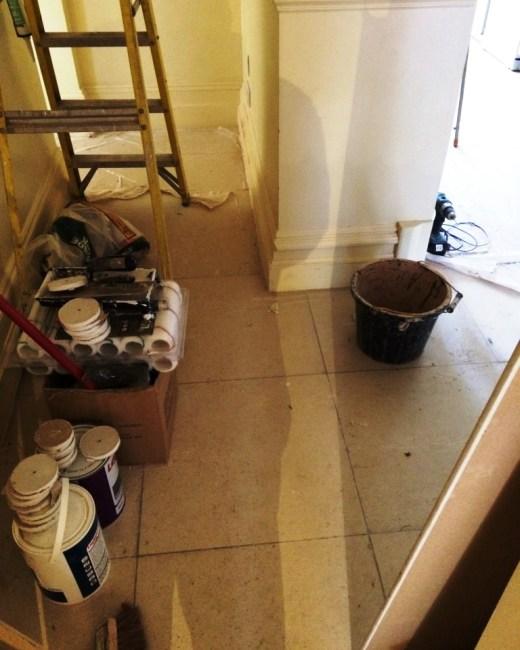 Brighton Luxury Flat Limestone Floor Before Cleaning