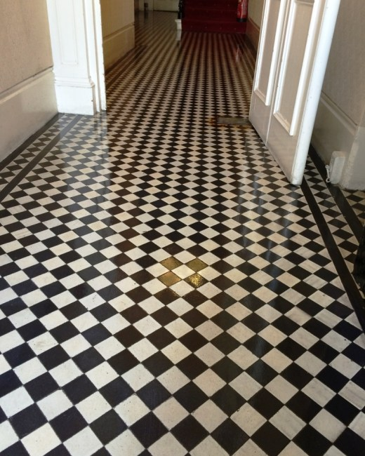 Victorian Tiled Office Floor Brighton After Cleaning