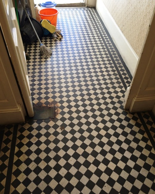 Victorian Tiled Office Floor Brighton Before Cleaning