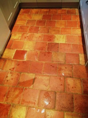 Terracotta tiles before cleaning in Wadhurst