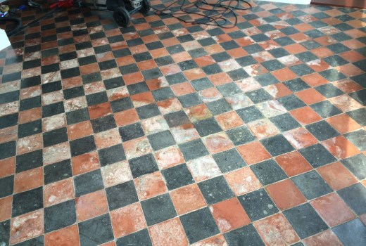 Restoring Water Damaged Quarry Tiled Floor In East Grinstead East