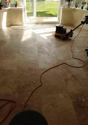 Travertine floor before honing and polishing Polegate