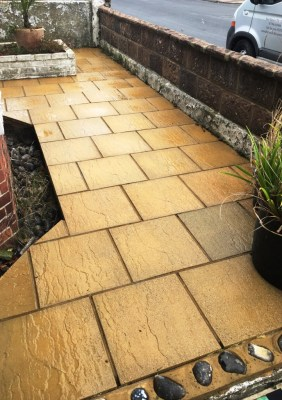 Buff Patio Paving After Cleaning in Eastbourne
