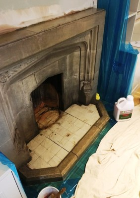Stone Fireplace During Cleaning Brighton