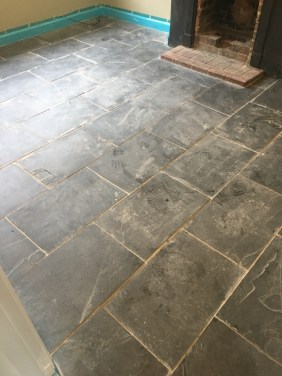 Black Slate Tiled Floor Before Cleaning Bexhill