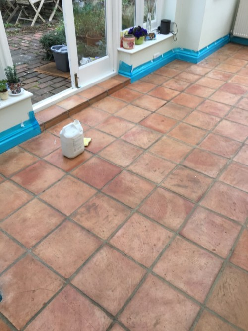 Terracotta Floor Before Cleaning Brighton