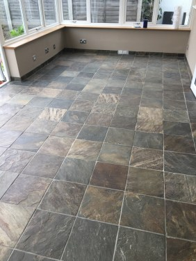 Coloured Slate Tiled Floor Before Cleaning Eastbourne