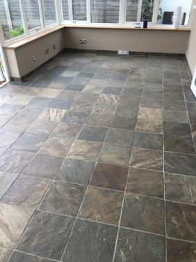 Coloured Slate Tiled Floor Before Cleaning Eastbourne