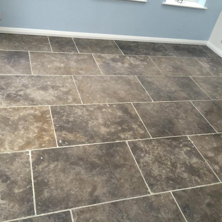 Grey Limestone Floor Before Cleaning Barton