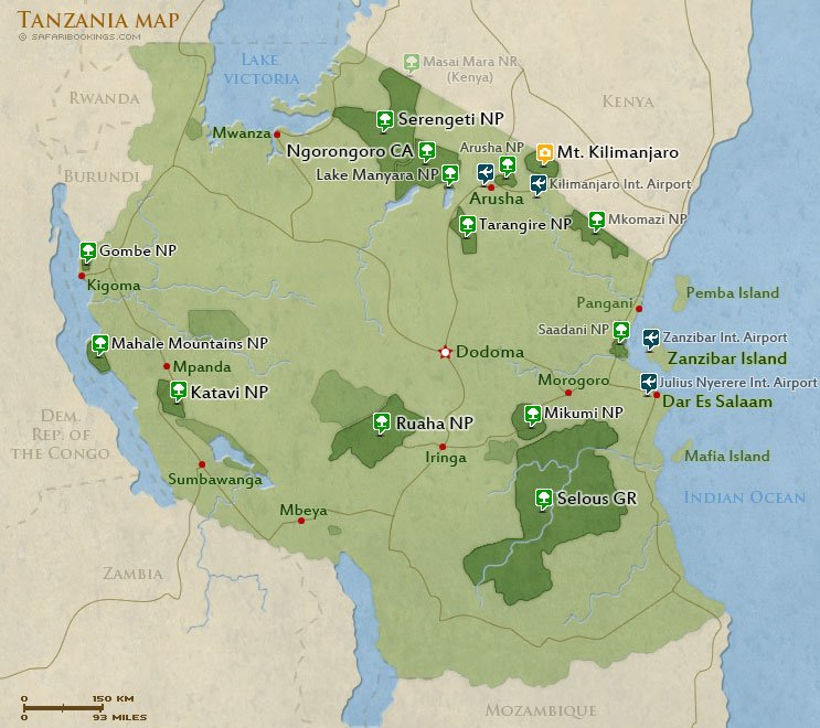 Tanzania Destinations Routes Map