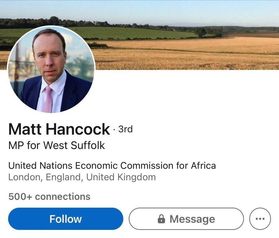 Matt Hancock UN Envoy LinkedIn profile
