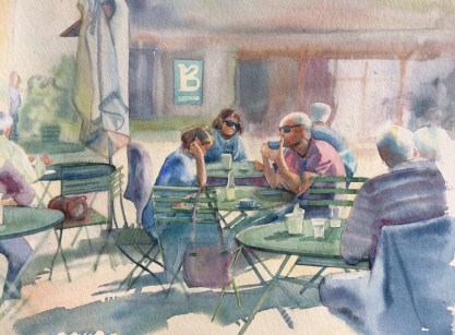 Tea at Burwash. Watercolour by Mel Collins