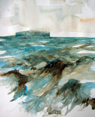 Low Cloud and Stormy Sea. Watercolour by Lesley Rumble