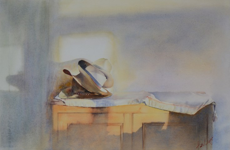 Hat attack. Watercolour by Alan Noyes