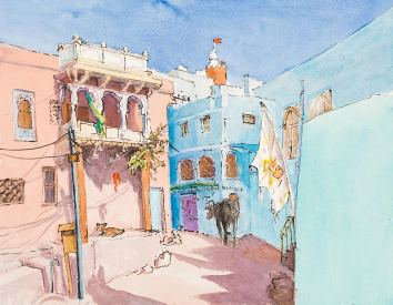 Jogphur India. Watercolour and Ink by Virginia Albutt