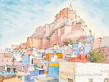 Maharajah's Palace Jodphur India. Watercolour and Ink by Virginia Albutt