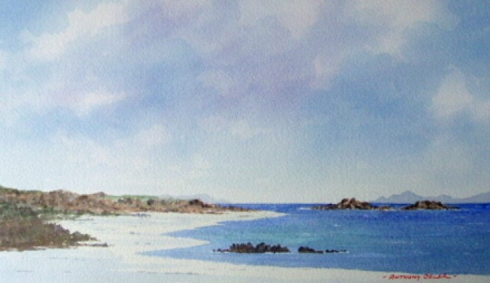 Sea, Sky and Sand. Watercolour by Anthony Osler