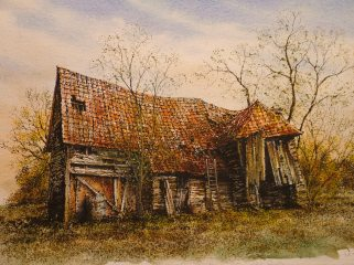 Derelict Barn, Pebmarsh. Watercolour by Reg Siger