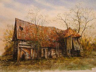 Derelict Barn, Pebmarsh. Watercolour by Reg Siger
