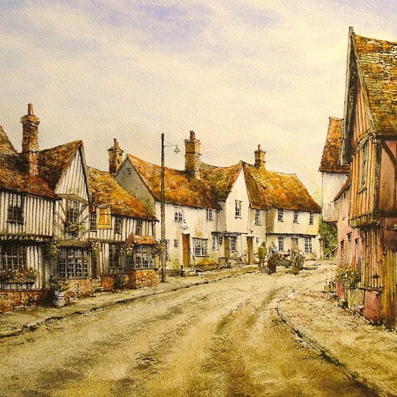 Kersey, Suffolk. Watercolour by Reg Siger