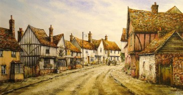 Kersey, Suffolk. Watercolour by Reg Siger