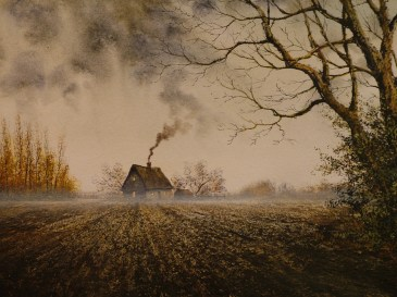 Suffolk Field. Watercolour by Reg Siger