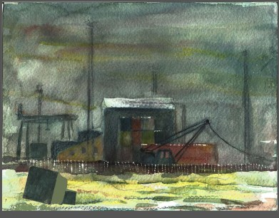 Container Town 2. Watercolour by Charles Nightingale