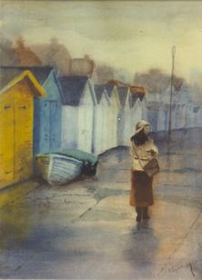 On the prom in the rain. Watercolour by Charles Nightingale