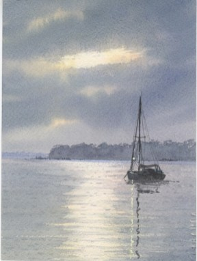 *SOLD* At anchor in moonlight by Anthony Osler