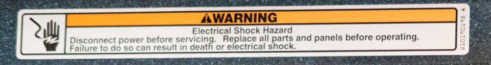 Appliance Repair Electrical Shock Hazard warning sticker