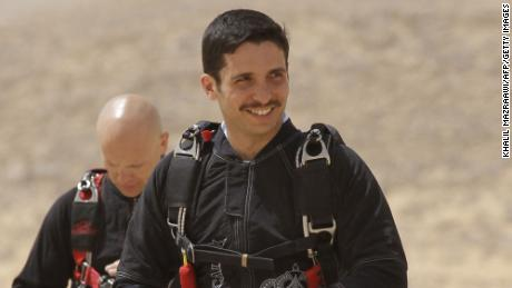 "Prince Hamzah attends a media event to announce the launch of ""Skydive Jordan"" in the Wadi Rum desert on April 19, 2011."