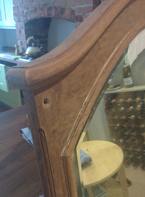stripped mahogany mirror frame