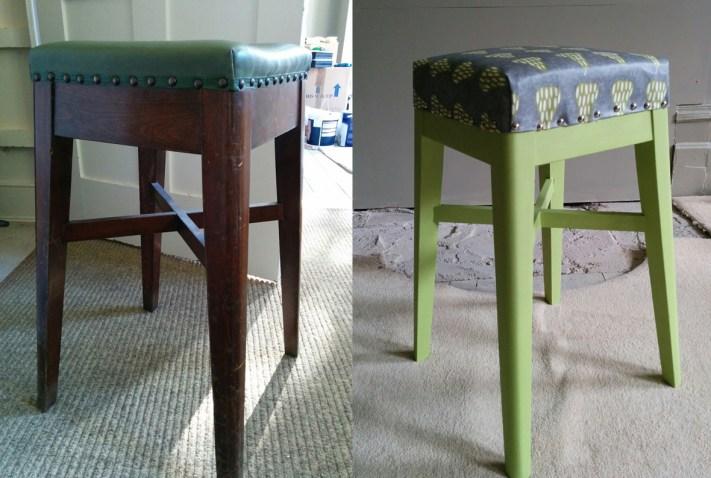Kitchen stool - before and after