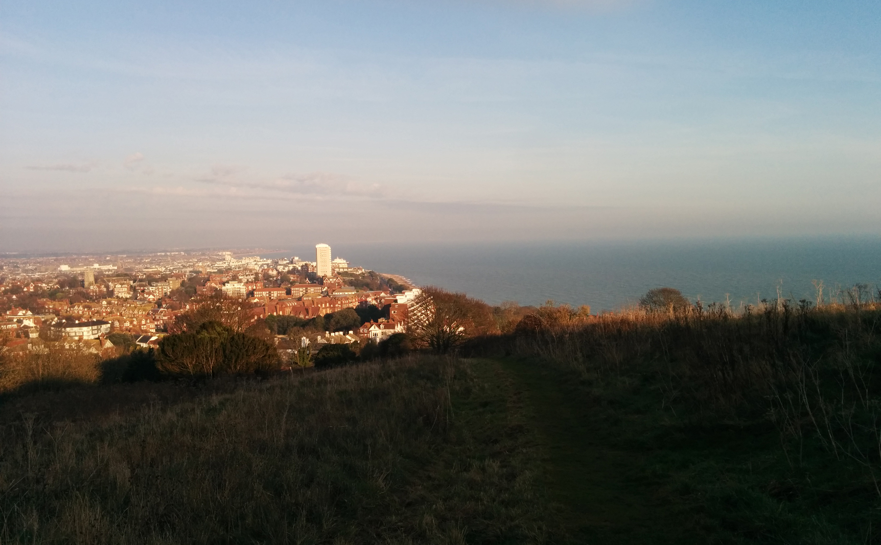 Looking back to Eastbourne from the footpath