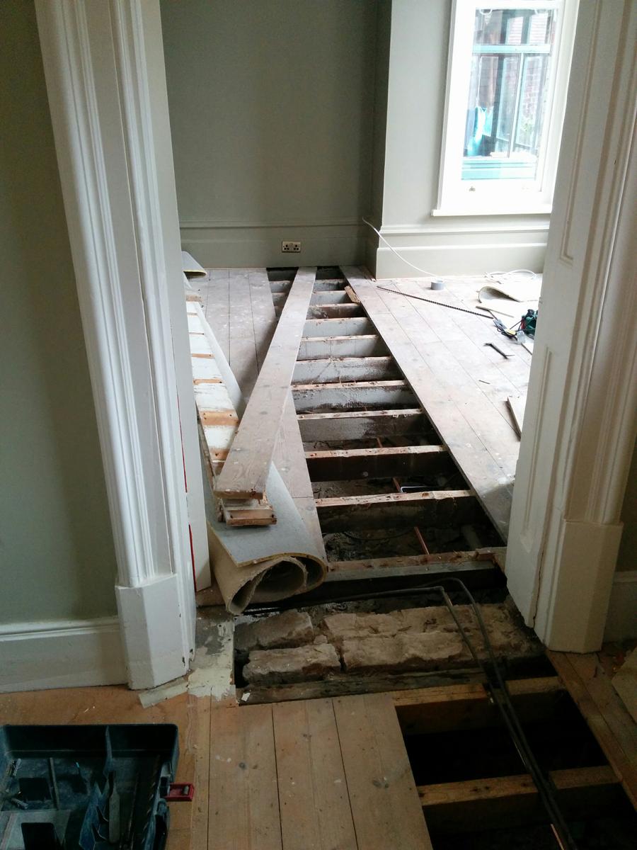 Pipework under the living room floor