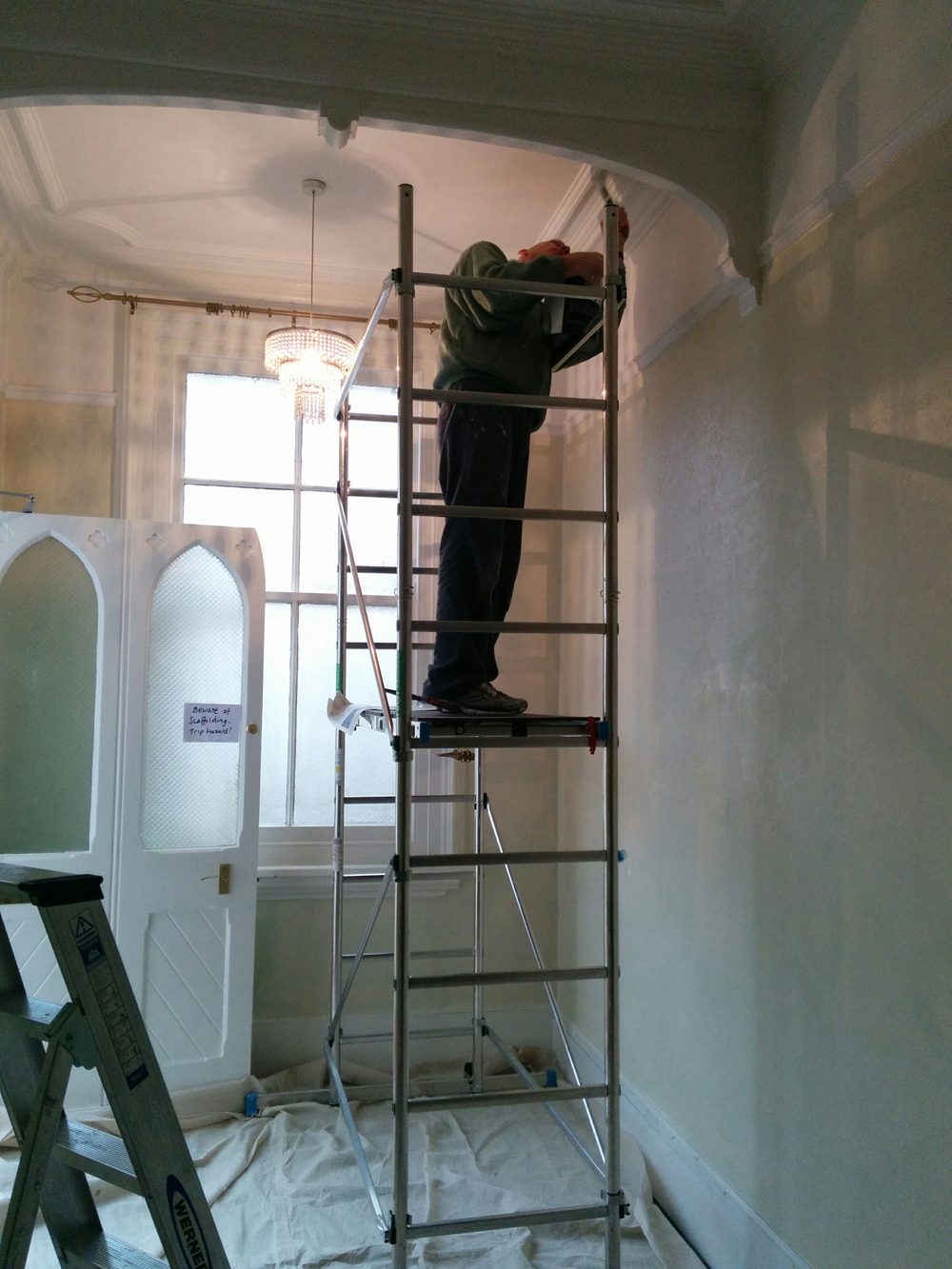 painting the communal hall ceiling