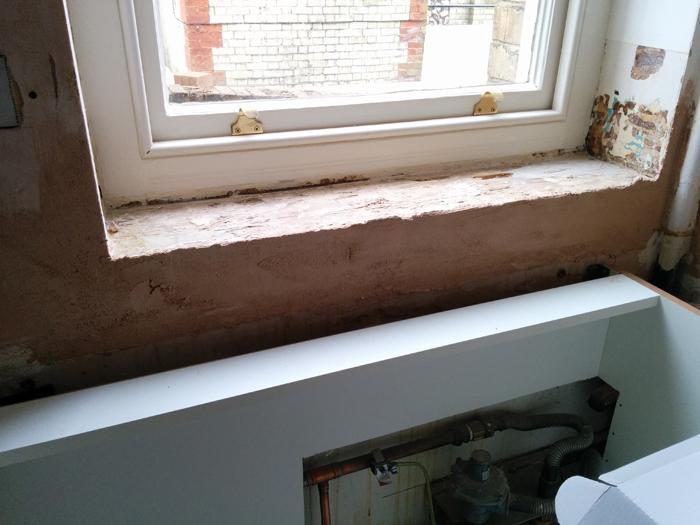 window cill - first fix plaster