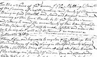 Will of Elias Stallings (Perquimans County), 1778/1785