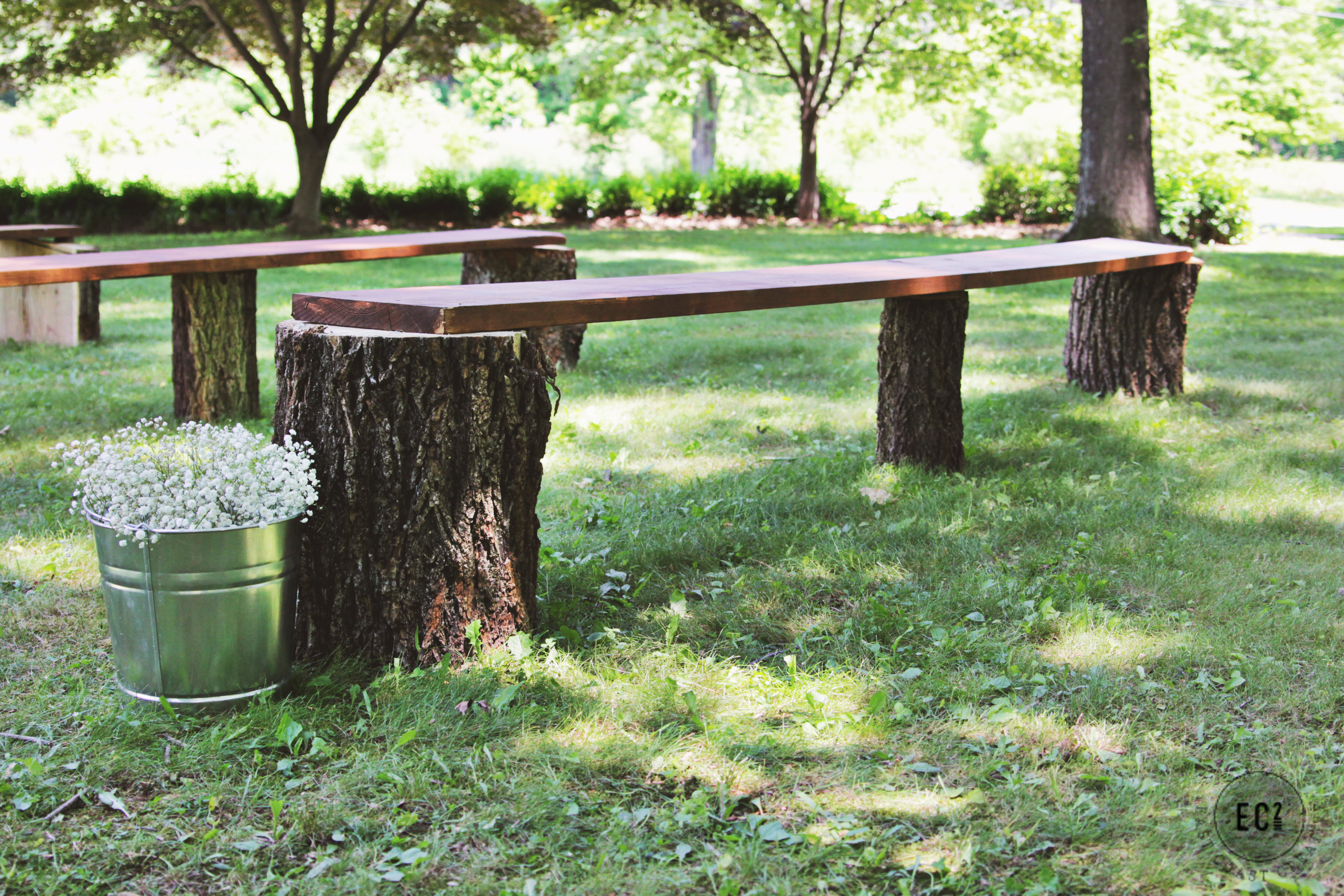 DIY Wedding Seating Rustic Log Benches