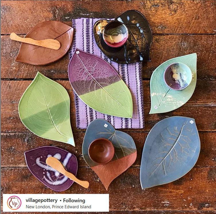 village pottery leaf trays