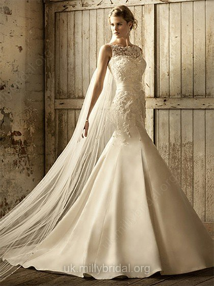 satin lace mermaid wedding gown,millybridal