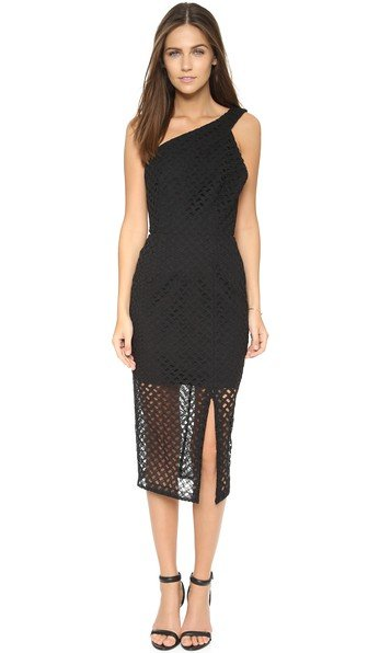 Nicholas Lattice Lace One Shoulder Dress